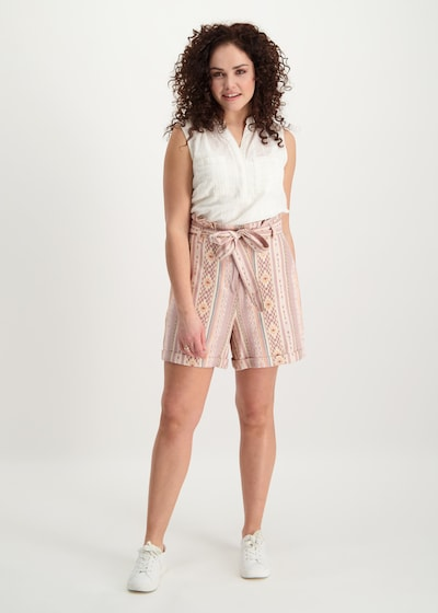 Juna Lane Taillierte Strandshorts mit Bundfalten in hellgrau / apricot / rosé, Modelansicht