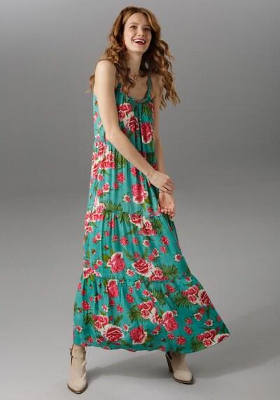 Aniston CASUAL Kleid in grün / mischfarben, Modelansicht