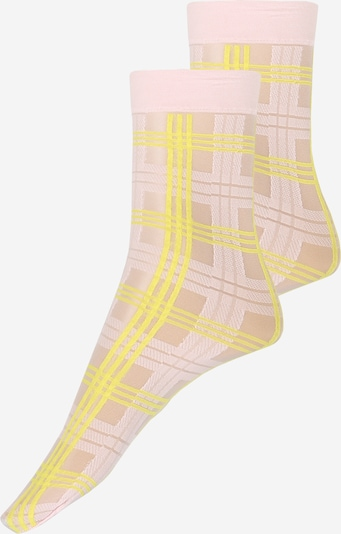 Swedish Stockings Sokken 'Greta Tartan Socks Light Pink/Neon Yellow' in de kleur Neongeel / Pink, Productweergave