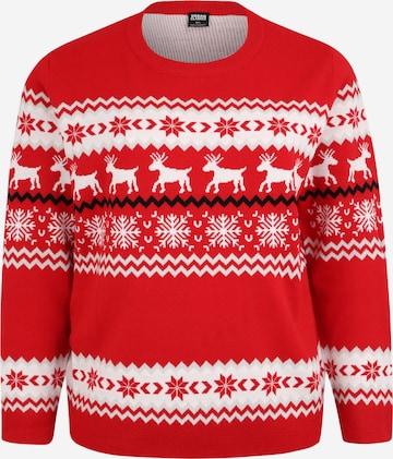 Pull-over 'Norwegian Christmas Sweater' Urban Classics Curvy en rouge