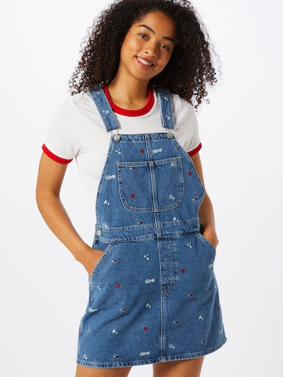 Tommy Jeans Kleid 'Classic Dungaree' in blue denim / hellrot, Modelansicht