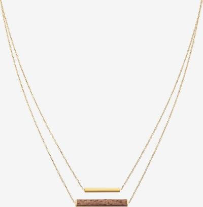 Kerbholz Kette 'Geometrics' in braunmeliert / gold, Produktansicht