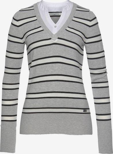 Tom Tailor Polo Team Pullover in grau / schwarz / weiß, Produktansicht