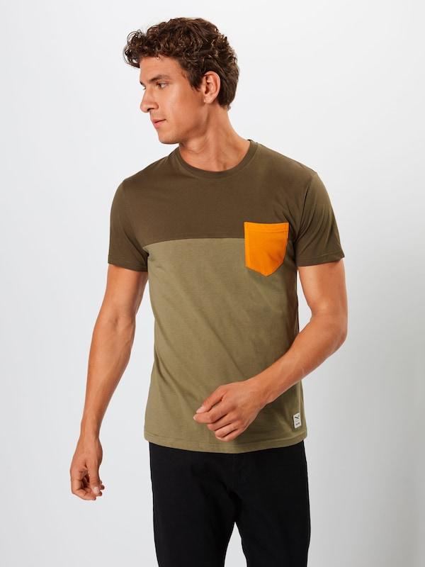 Iriedaily T-Shirt in grau / oliv: Frontalansicht