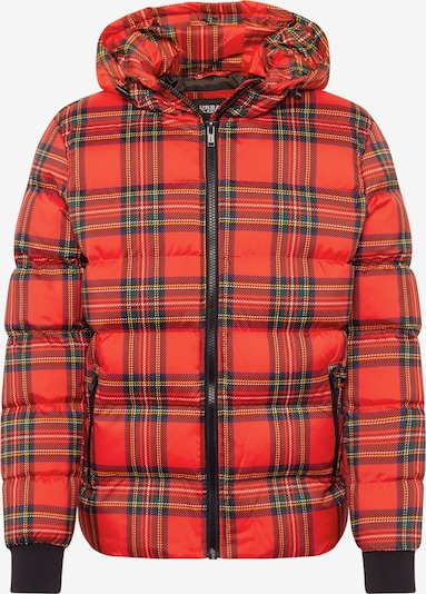 Urban Classics Jacke 'Hooded Check Puffer Jacket' in rot / schwarz: Frontalansicht