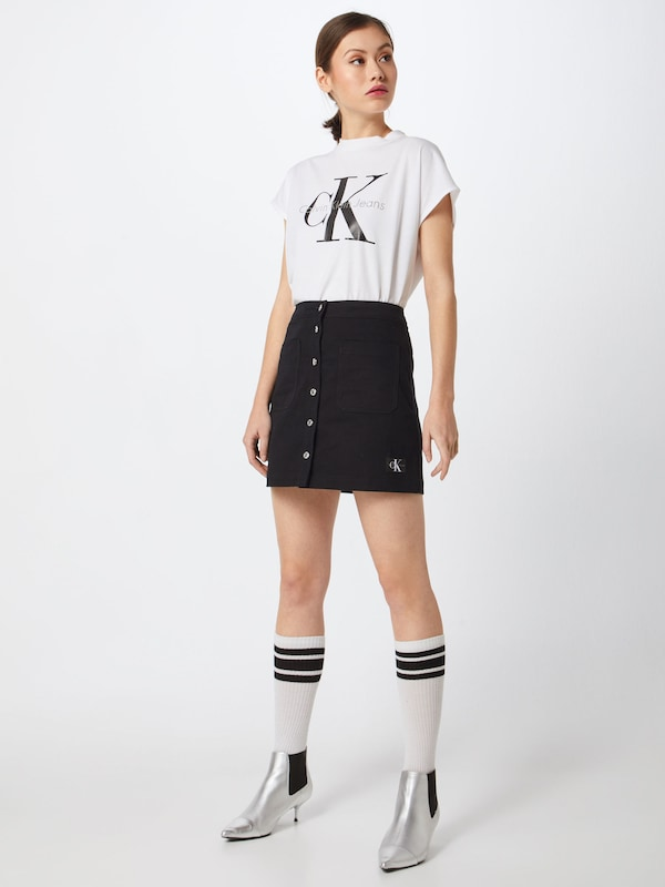 Jeans Jupe Buttoned Klein Noir En 'cotton Mini Skirt' Calvin Ku3T5clFJ1