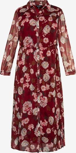 Ulla Popken Robe de soirée 'Hemdblusenkleid mit Blumendruck und Litze' en rouge, Vue avec produit