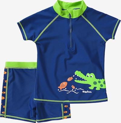 PLAYSHOES Schwimmanzug 'Krokodil' in blau / neongrün / orange / weiß, Produktansicht