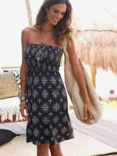 LASCANA Strandkleid in creme / schwarz, Modelansicht
