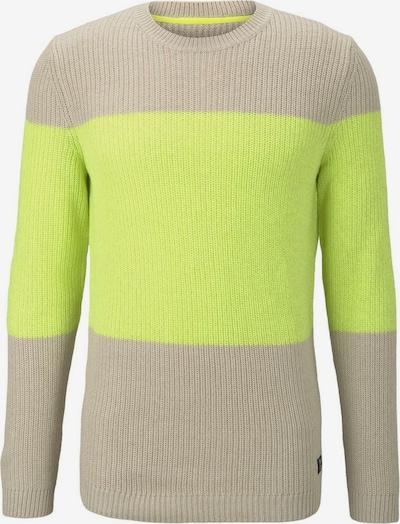 TOM TAILOR DENIM Pullover in beige / neongelb, Produktansicht