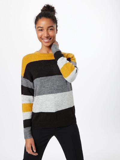 JACQUELINE de YONG Trui in de kleur Goudgeel / Grijs / Zwart, Modelweergave