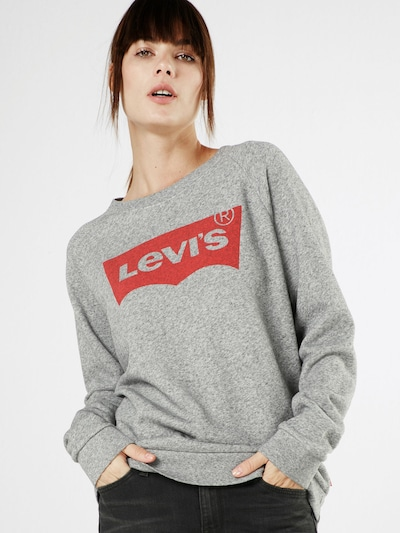 LEVI'S Sweatshirt 'RELAXED GRAPHIC CREW' in graumeliert / rot: Frontalansicht