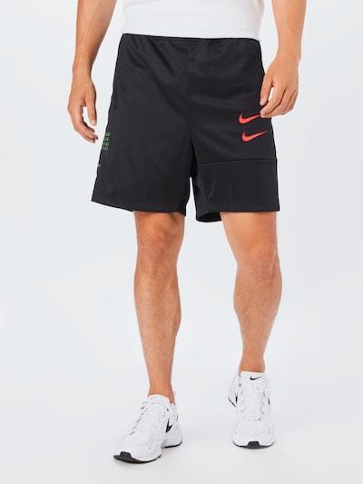 Nike Sportswear Shorts 'Swoosh' in hellgrün / rot / schwarz: Frontalansicht