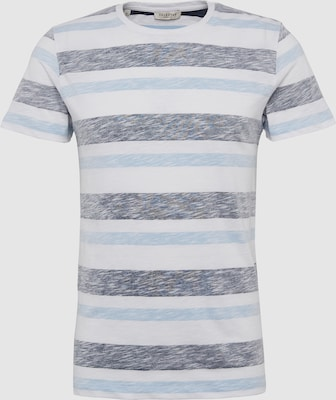 SELECTED HOMME Shirt 'SLHREVERSE SS O-NECK TEE W EX' in Blauw / Wit