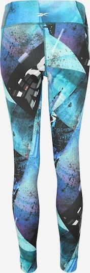 REEBOK Leggings in blau / aqua / schwarz / weiß: Rückansicht