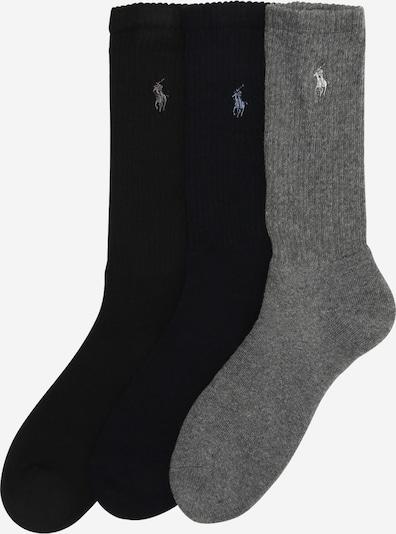 POLO RALPH LAUREN Chaussettes 'CREW W/PP-CREW-3 PACK' en bleu / gris / noir, Vue avec produit