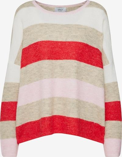 ONLY Pullover 'onlJOSIE L/S PULLOVER WOOL KNT' in hellgrau / rot / weiß, Produktansicht