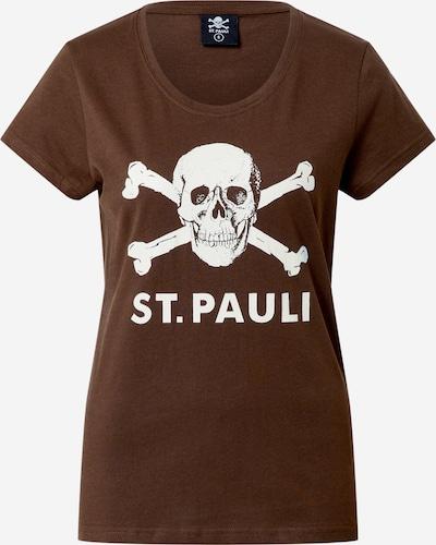 FC St. Pauli Shirt 'Totenkopf' in de kleur Bruin / Wit, Productweergave
