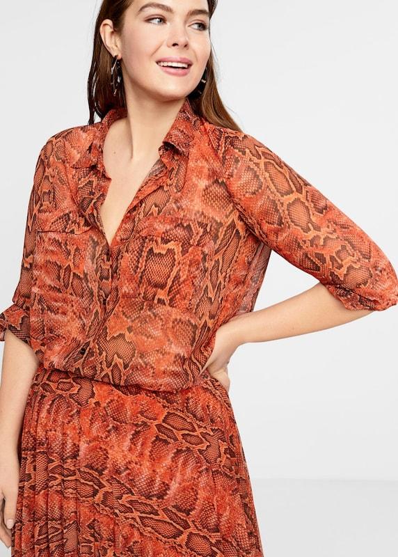 lilaA by Mango Blause 'Snakes' in in in dunkelbraun   Orange   dunkelOrange  Markenkleidung für Männer und Frauen 919596