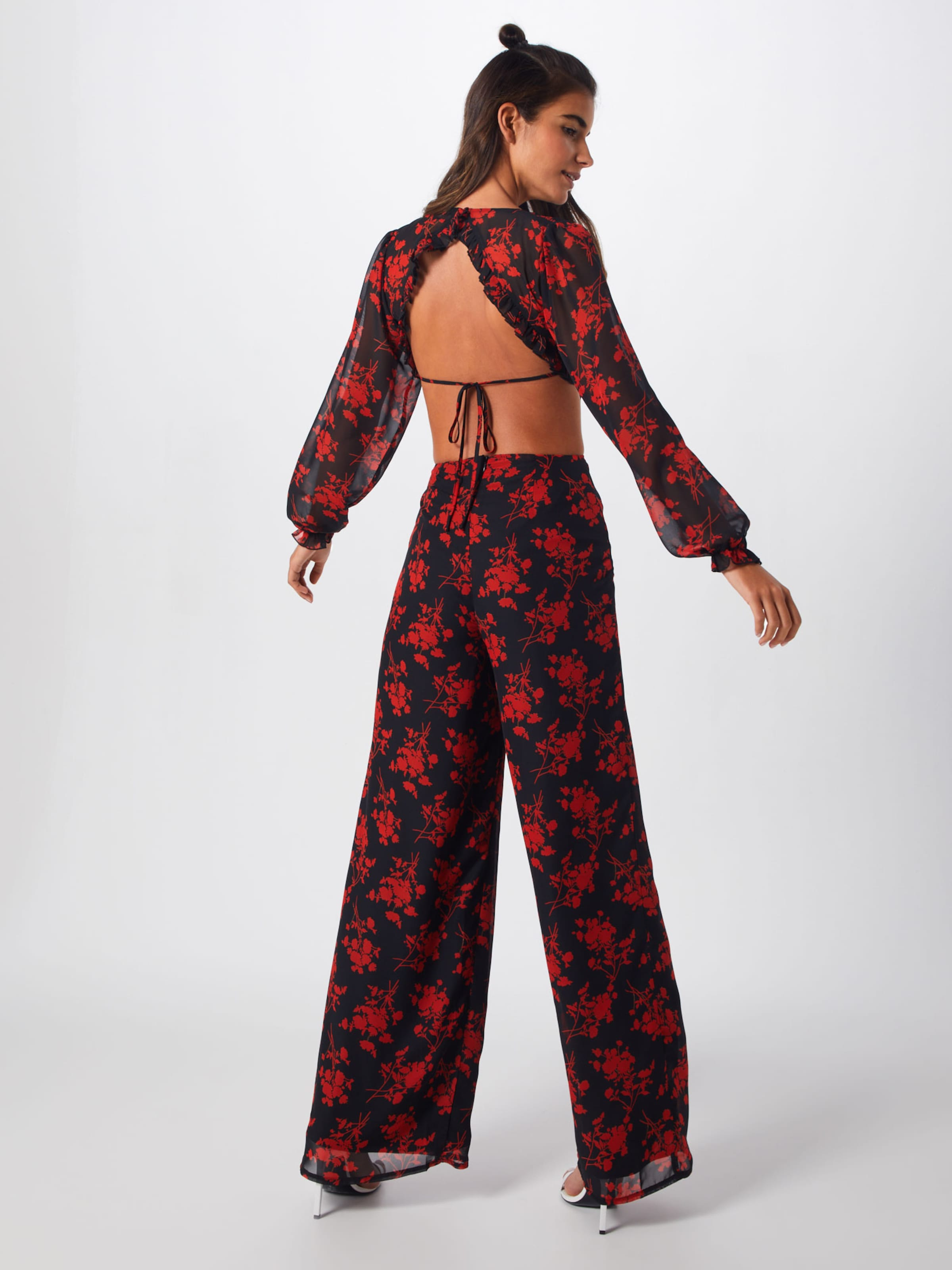 Jumpsuit' Open Frill 'floral Back Missguided In Overall RotSchwarz eQxBWordC