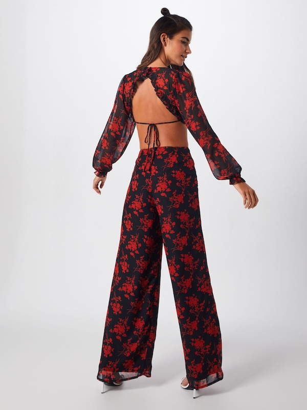 'floral Frill Missguided In Jumpsuit' Jumpsuit Back Open RoodZwart kwP80OnX