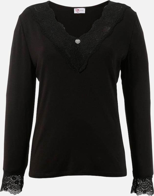 TURI LANDHAUS Trachtenshirt Damen mit V-Ausschnitt in schwarz  Große Preissenkung