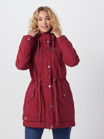 Ilga rudeninė-žieminė striukė 'CANNY' iš Ragwear , spalva - vyno raudona spalva: Vaizdas iš priekio