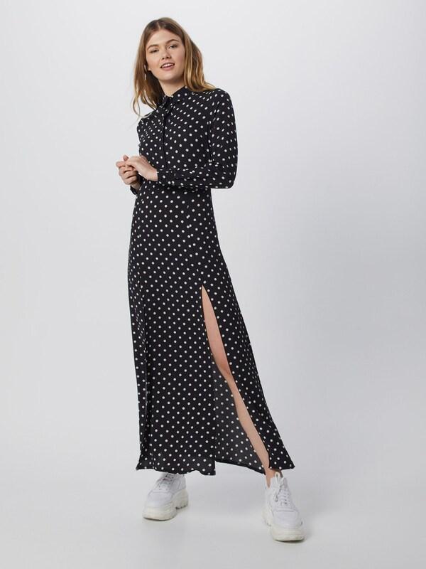 Blousejurk In 'polka Missguided Front Dress Split Long ZwartWit Maxi Black' Dot Sleeve w8nPXN0Ok