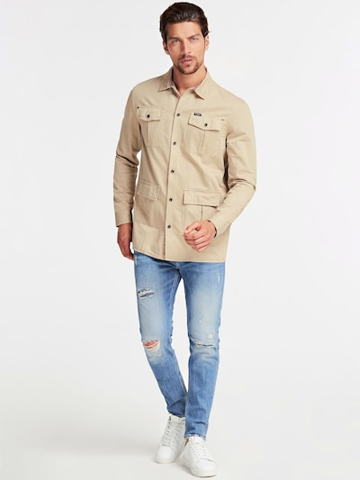 GUESS Hemd in beige: Frontalansicht