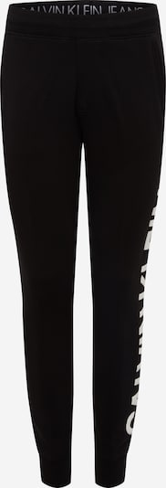Pantaloni 'PUFF PRINT HWK PANT' Calvin Klein Jeans pe negru / alb, Vizualizare produs