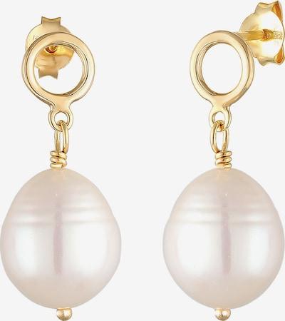 ELLI Ohrringe 'Geo' in gold / perlweiß, Produktansicht