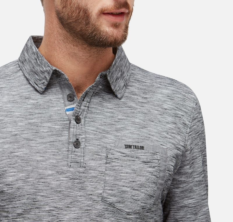 TOM TAILOR Langarm-Poloshirt in Melange-Optik