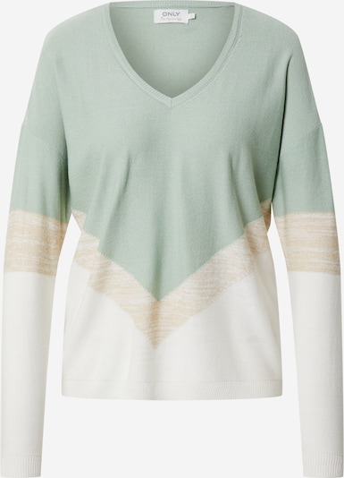 ONLY Pullover 'CAMILLE' in beige / mint / offwhite, Produktansicht