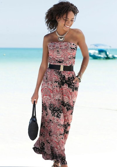 LASCANA Beach dress in mixed colours / pink / black, View model