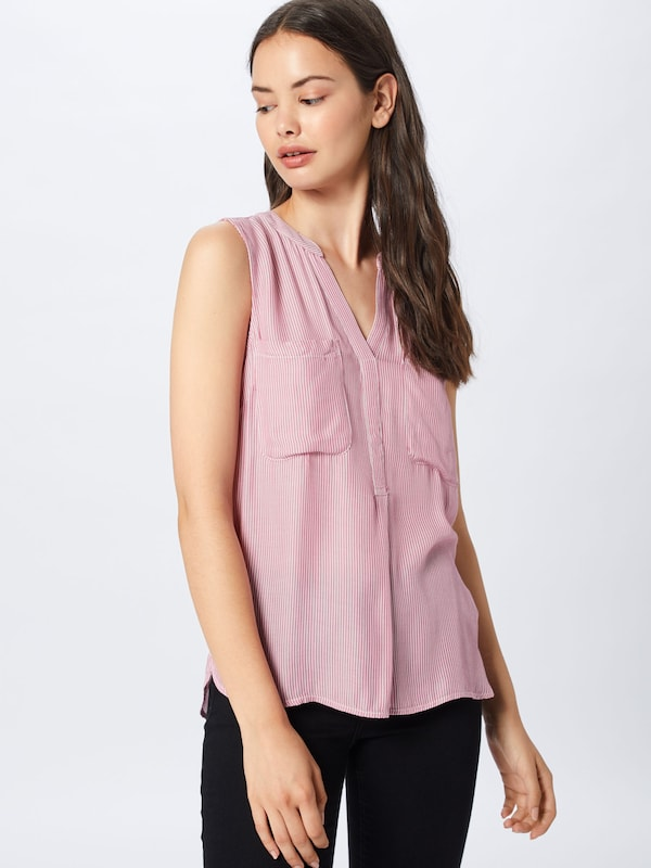 TOM TAILOR DENIM Bluse in rosé / weiß: Frontalansicht
