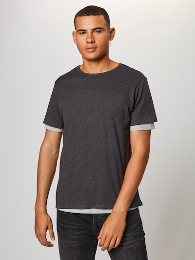 Urban Classics T-Shirt 'Full Double Layered Tee' in dunkelgrau: Frontalansicht