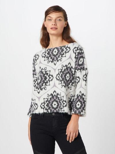 ONLY Pullover 'INDIA' in lila / schwarz / weiß, Modelansicht