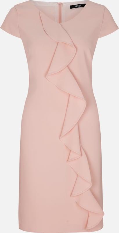 S.Oliver schwarz LABEL Crêpe-Kleid mit Volantbesatz in in in puder  Bequem und günstig 96bd23