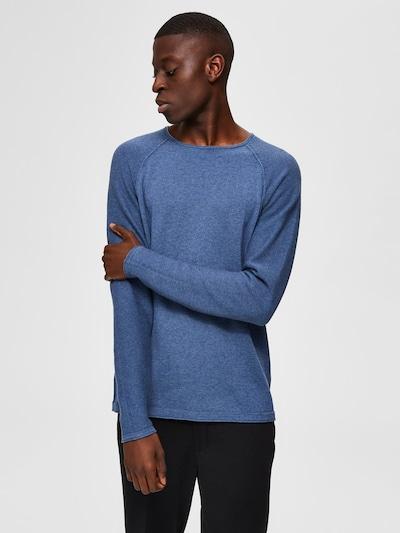 SELECTED HOMME Sweter 'SLHCARTER CREW NECK W NOOS' w kolorze ciemny niebieskim: Widok z przodu