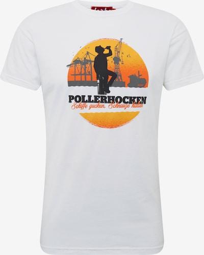 Derbe Shirt 'Pollerhocken' in dunkelorange / weiß, Produktansicht