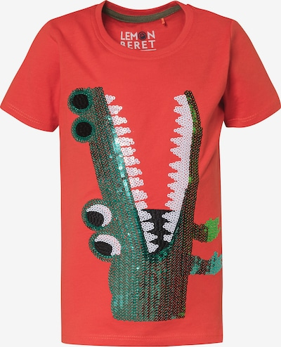 LEMON BERET Shirt in grün / orangerot / weiß, Produktansicht