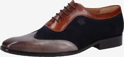 MELVIN & HAMILTON Veterschoen in de kleur Donkerblauw / Roestbruin / Grijs: Vooraanzicht