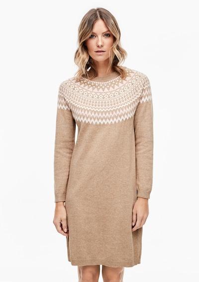 s.Oliver Gebreide jurk in de kleur Lichtbruin / Pastelroze / Wit, Modelweergave