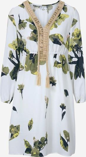 Suknelė iš heine , spalva - kupranugario / žolės žalia / balta, Prekių apžvalga