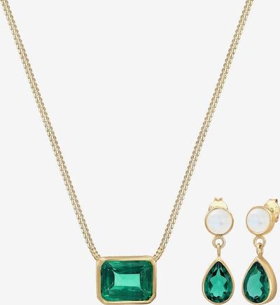 ELLI PREMIUM Sieraden set in de kleur Goud / Groen / Wit, Productweergave
