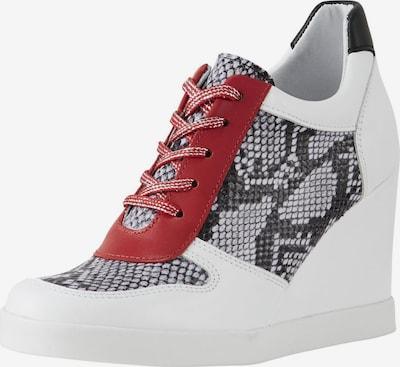 heine Keilsneaker in anthrazit / rot / weiß, Produktansicht