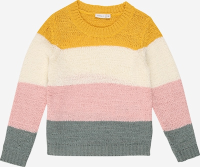 NAME IT Pullover 'Lamea' in beige / senf / grau / rosa: Frontalansicht