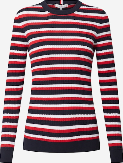 TOMMY HILFIGER Pullover 'TH ESSENTIAL CABLE C-NK SWTR' in rot / schwarz / weiß, Produktansicht