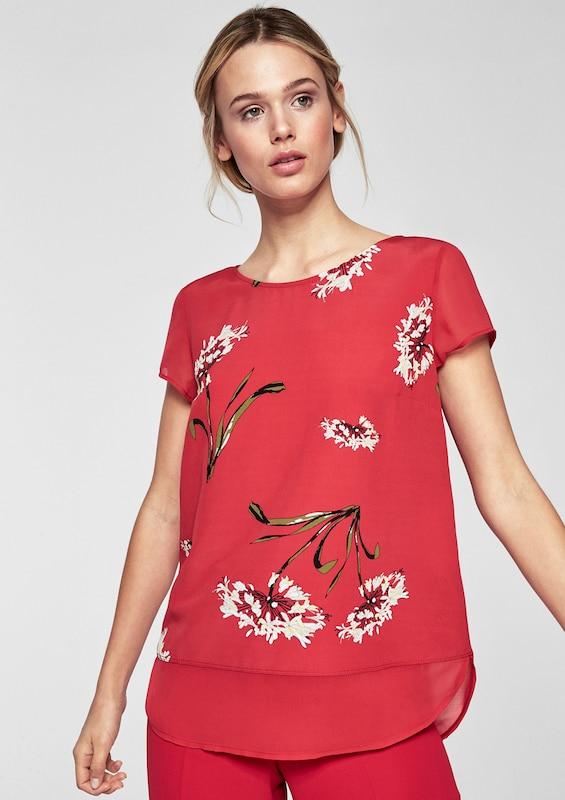 s.Oliver BLACK LABEL Bedrucktes Shirt im Lagen-Look