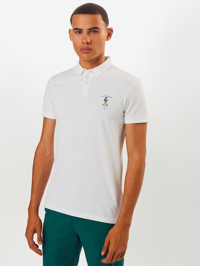 TOM TAILOR DENIM T-Shirt 'polo with chest embroidery' en blanc: Vue de face